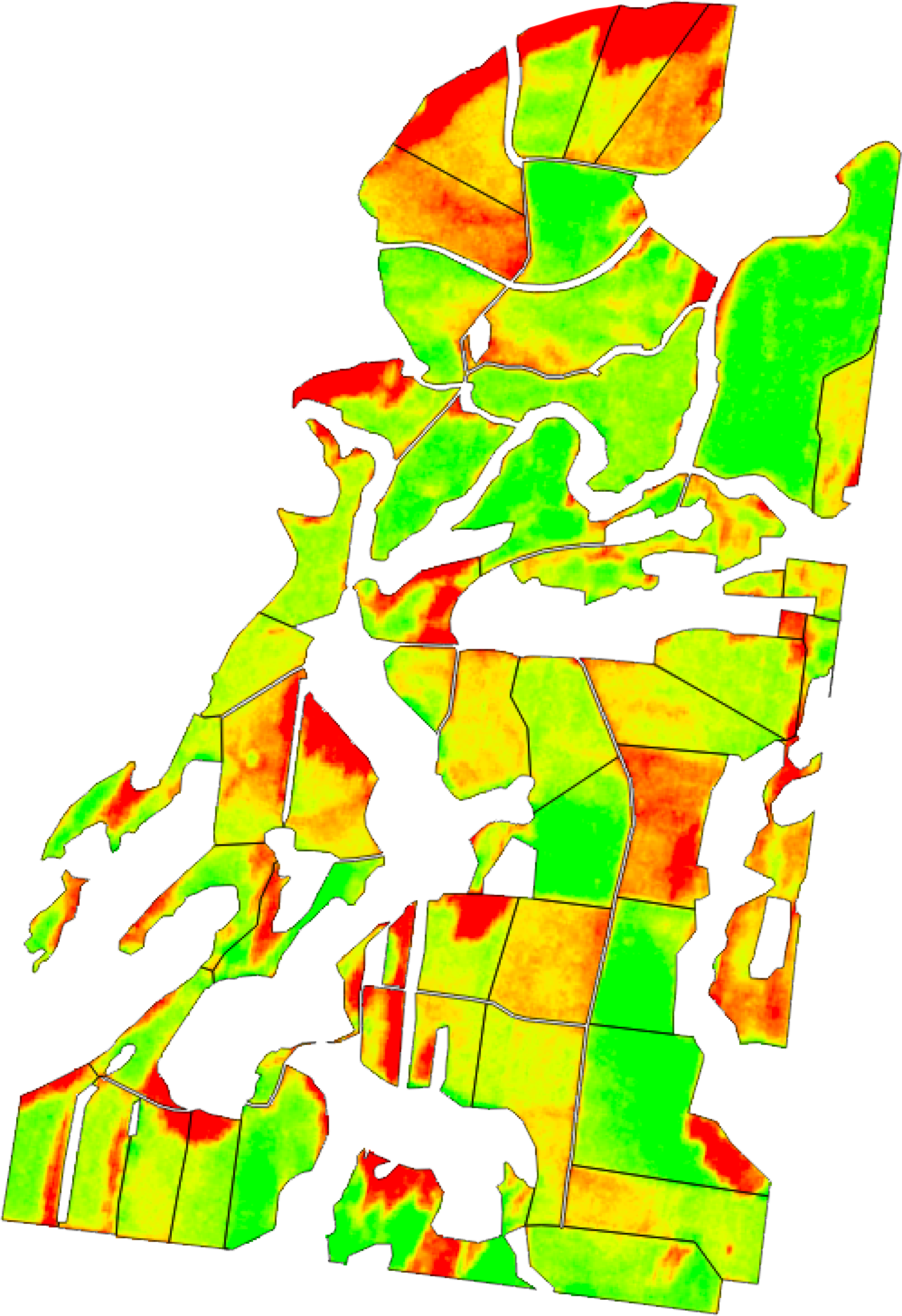NDVI snapshot of a farm's pasture